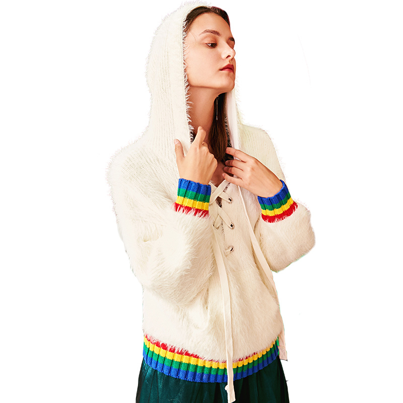 Spring Autumn Women New Warm Mohair Sweaters Ladies Fashion White Lace Up Hooded Knitting Tops Loose