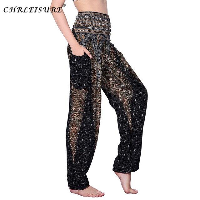 3cdeb7ead9 CHRLEISURE calça feminina Harem Pants Plus Size Bohemian Cintura Alta Calças  Da Praia do Verão Moda