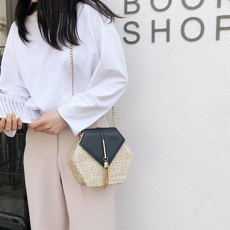Hexagon Mulit Style Straw+leather Handbag Women Summer Rattan Bag Handmade Woven Beach Circle Bohemia Shoulder Bag New Fashion 10