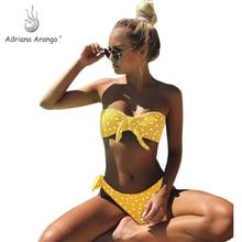 Adriana Arango 2019 Swimsuit Polka Dot Bikini Sexy Bandeau Brazilian Set Bow Halter Push Up Swimwear Summer Beachwear