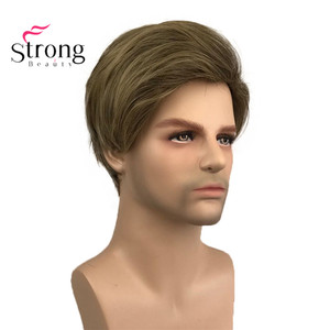 Image 2 - StrongBeauty Light Brown Short Mens Wigs Synthetic Full Wig for Men