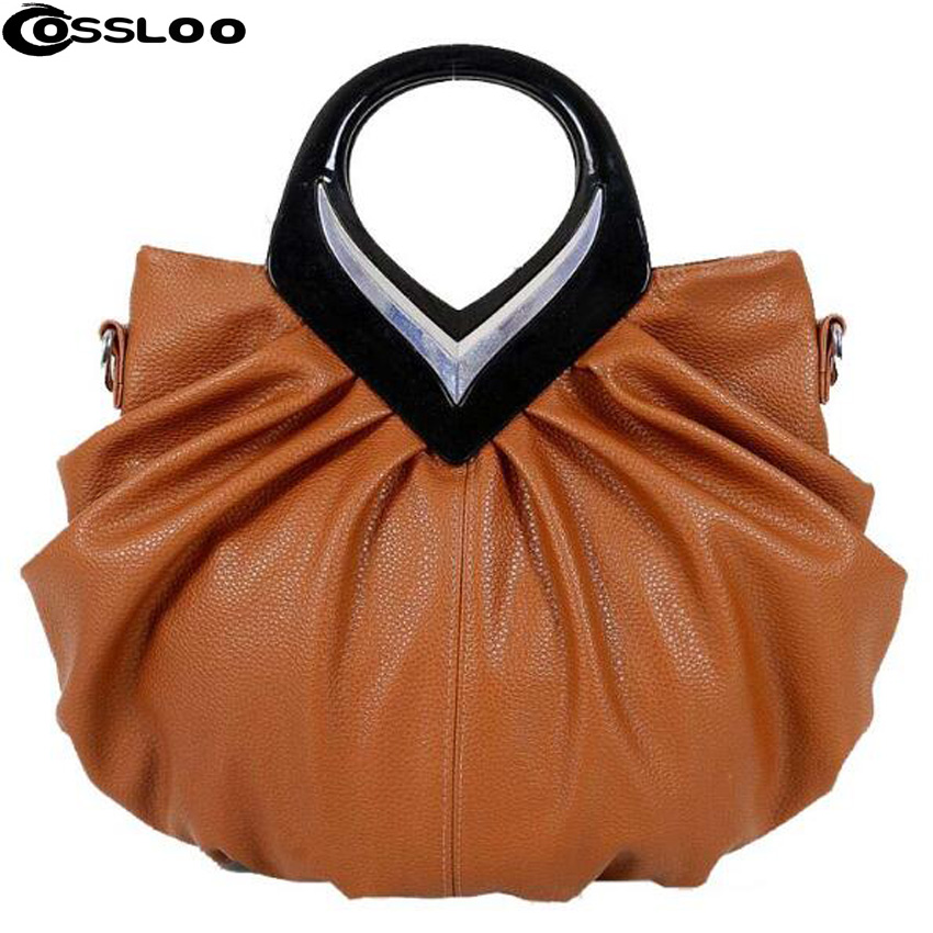 COSSLOO Promotion New Women Leather Handbags Bow Ruched Casual-bag Shoulder Messenger Bags Purses Bolsas Fashion Hand Bag Tote cossloo women genuine sheepskin leather handbags messenger bags real leather handbags fashion large shoulder bags free shipping