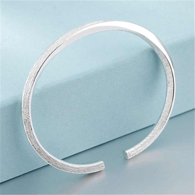 96ca281ad8e ... Simple Delicate 999 Sterling Silver Filled Dull Polish Twisted Cuff  Bangle Bracelets Women Dainty Jewelry ...