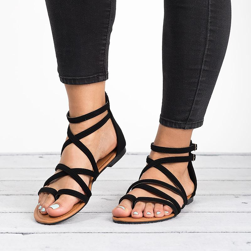 Women Peep Toes Strappy Ankle Buckle Boots Sandals Summer Casual Flat Shoes Size