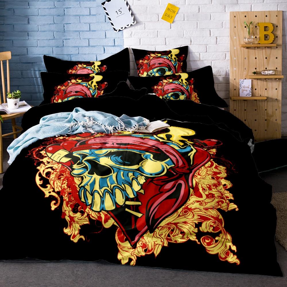 Blanket Pattern Skull Duvet Cover Set 3pcs Splash Watercolor Bedding Queen Colorful Home Textiles