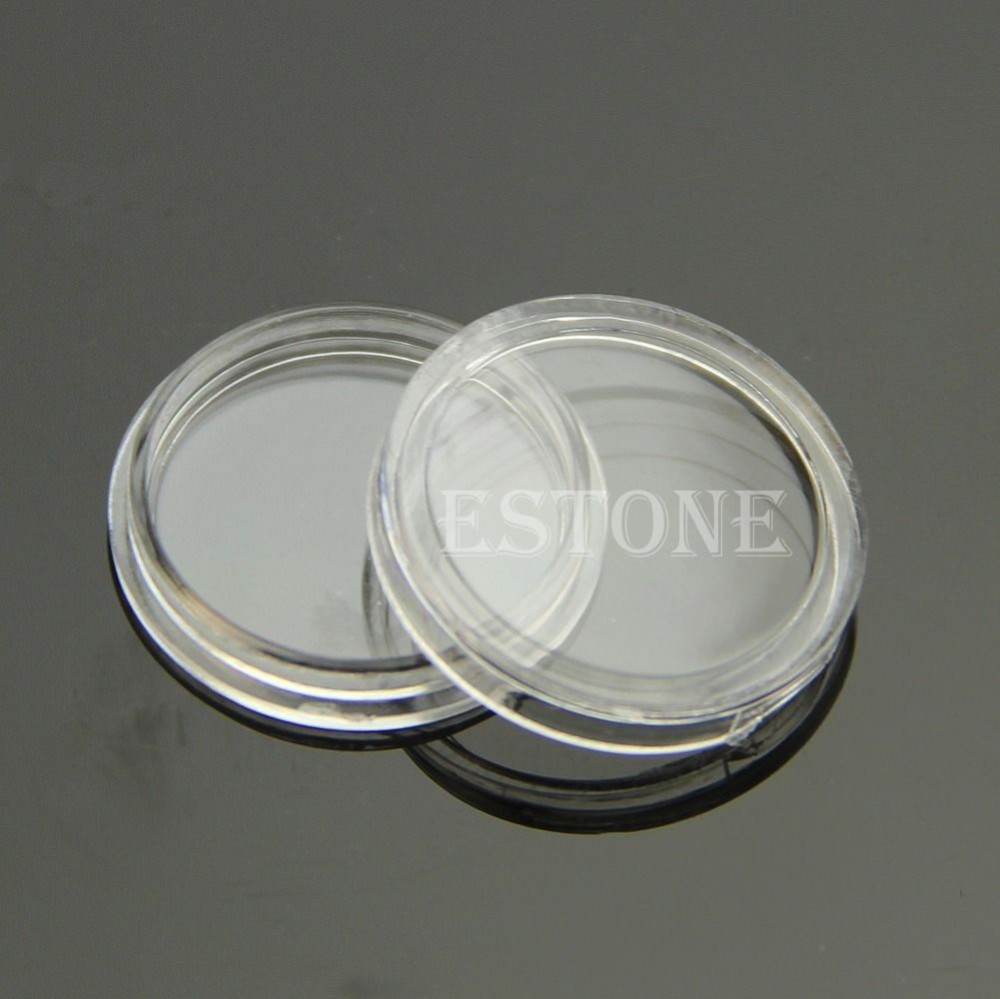 10Pcs 18mm plastic round applied clear cases coin storage capsules holderSP