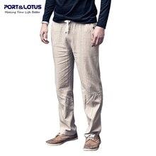 Port & Lotus Hose Männer Neue Mode Leinen Männer Beiläufige Feste Lose Hause Strand Männer kleidung Hosen Kleidung 001 großhandel