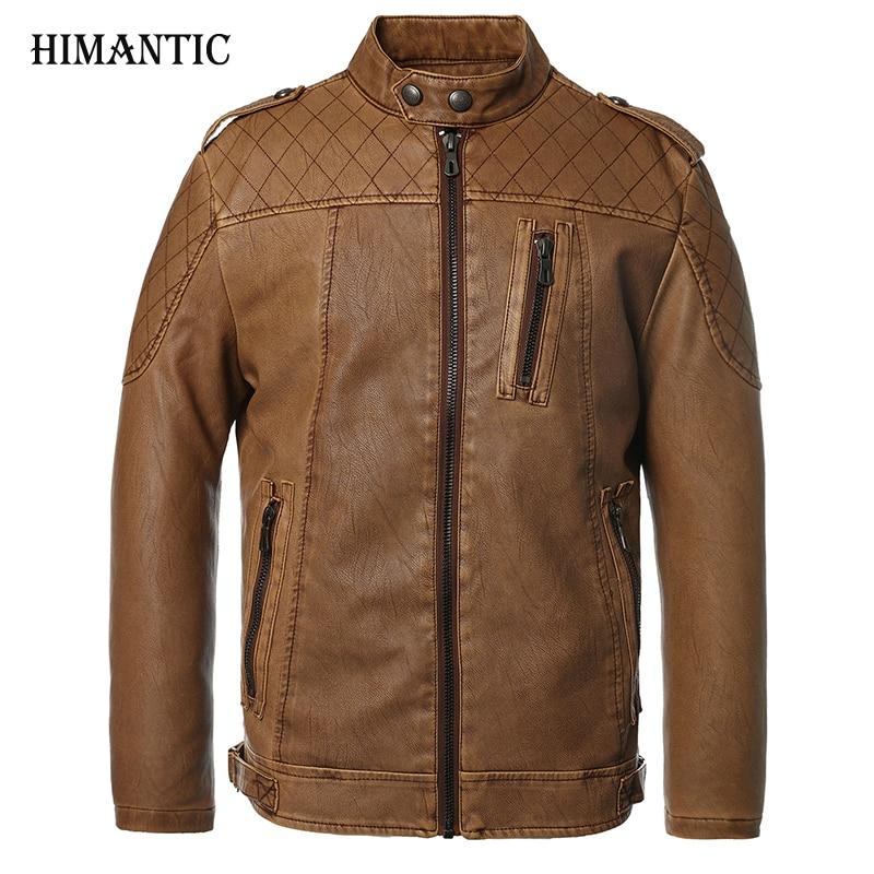 Leather Jacket Men Bomber Jacket Jaqueta De Couro Male Csaco Men Stand Collar Motorcycle Jackets Veste Homme Velvet leather Coat ...