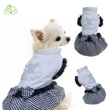 Pet Dress For Dogs Cats Clothes Clothing For Small And Large Animals Wedding Party Skirt With Rhinestone And Bow