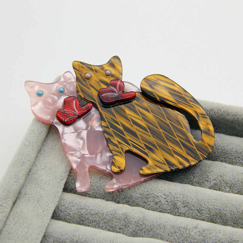 Fashion Double Kucing Bros untuk Wanita Lucu Hewan Kucing Akrilik Bros dan Pin Perempuan Perhiasan Buatan Tangan Lencana Hadiah Natal