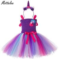 Girls Tutu Dress Fancy Rainbow Princess Pony Unicorn Dress Headband Christmas Halloween Costume Baby Girl Party
