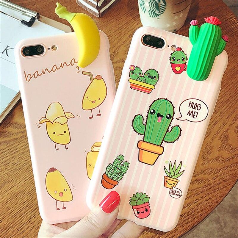 3D Cute Cartoon Cactus Flora Banana Fundas Iphone 6 6S 7 8 Plus X Cases Soft Silicone Case Back Cover Fundas