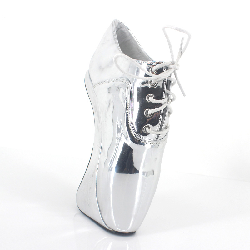 Silver Patent Leather Sexy Ballet Heels Fetish Shoes High Heels Pumps Silver Heels Ladies Party Shoes 2017 Ballet Dance ShoesSilver Patent Leather Sexy Ballet Heels Fetish Shoes High Heels Pumps Silver Heels Ladies Party Shoes 2017 Ballet Dance Shoes