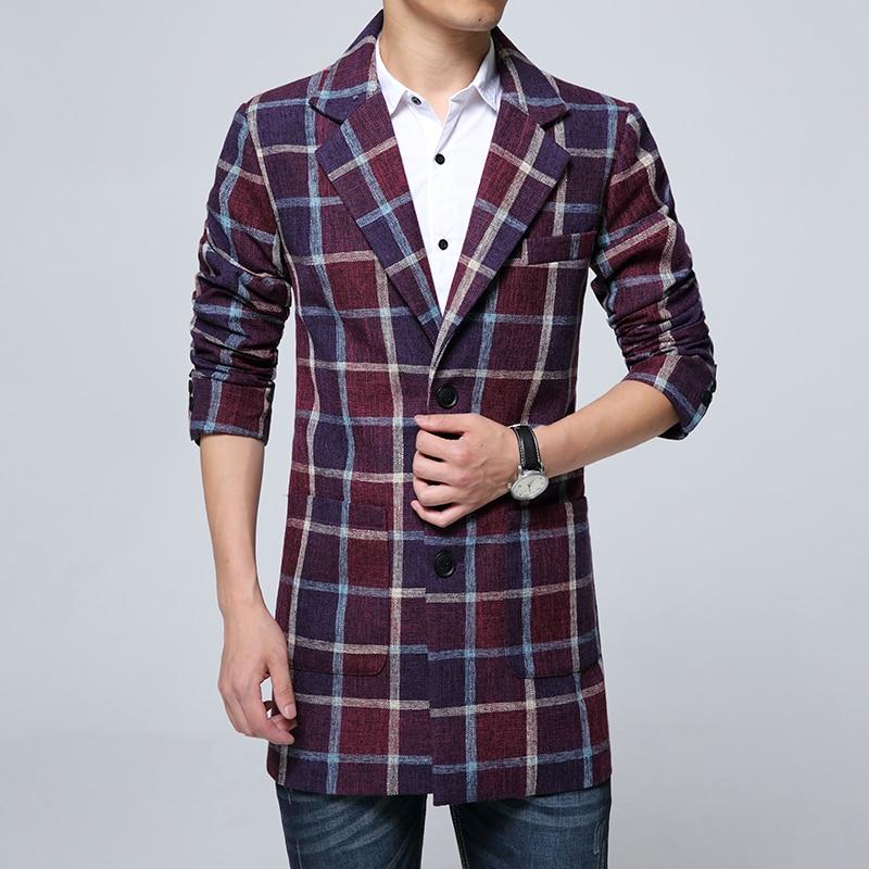 New Lattice font b Men s b font Trench Winter Hot Sales Men Long Coats Jackets