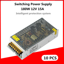 DHL 10PCS 180W 12V 15A Switching Power Supply led driver AC 100-240V LED light strip display monitor Lighting transformer switching power supply 180w 12v 15a for led strip light cctv power adapter chargerpower supply for the camera