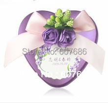 100 Pieces Purple Heart Mint Tins with Customize Card, 65*67*32mm Metal Tin Box Case Customize Wedding Favor EMS Free Shipping