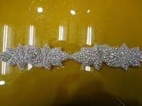 free shipping Hot Fix Crystals Rhinestone Applique trimming Motifs Heat Transfer Beaded Wedding Crystal Belt Wedding Sashes