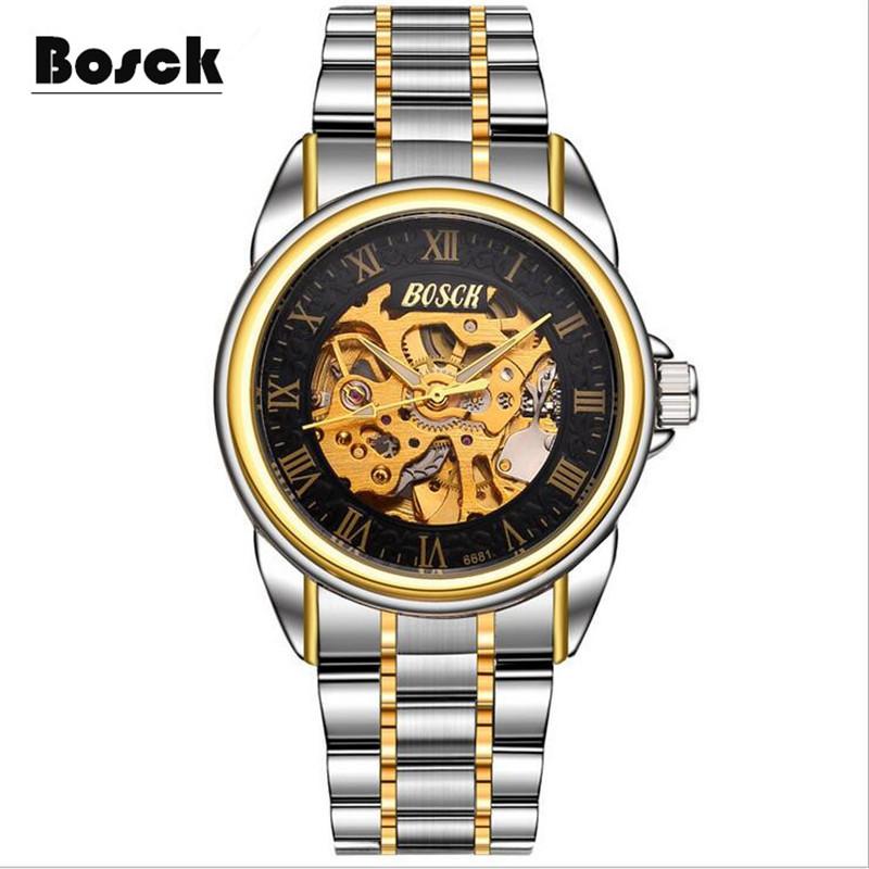 Prix pour Bosck hommes de casual étanche mécanique montres, acier inoxydable de mode sport montres relojes hombre 2016 relogio masculino