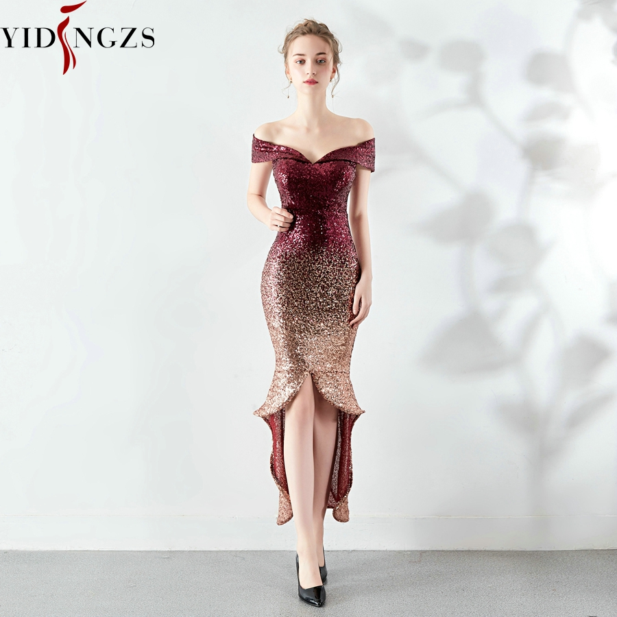 YIDINGZS New Arrive Women Elegant Sequin Evening Dress Short Front Long Back Evening Party Dress YD16173