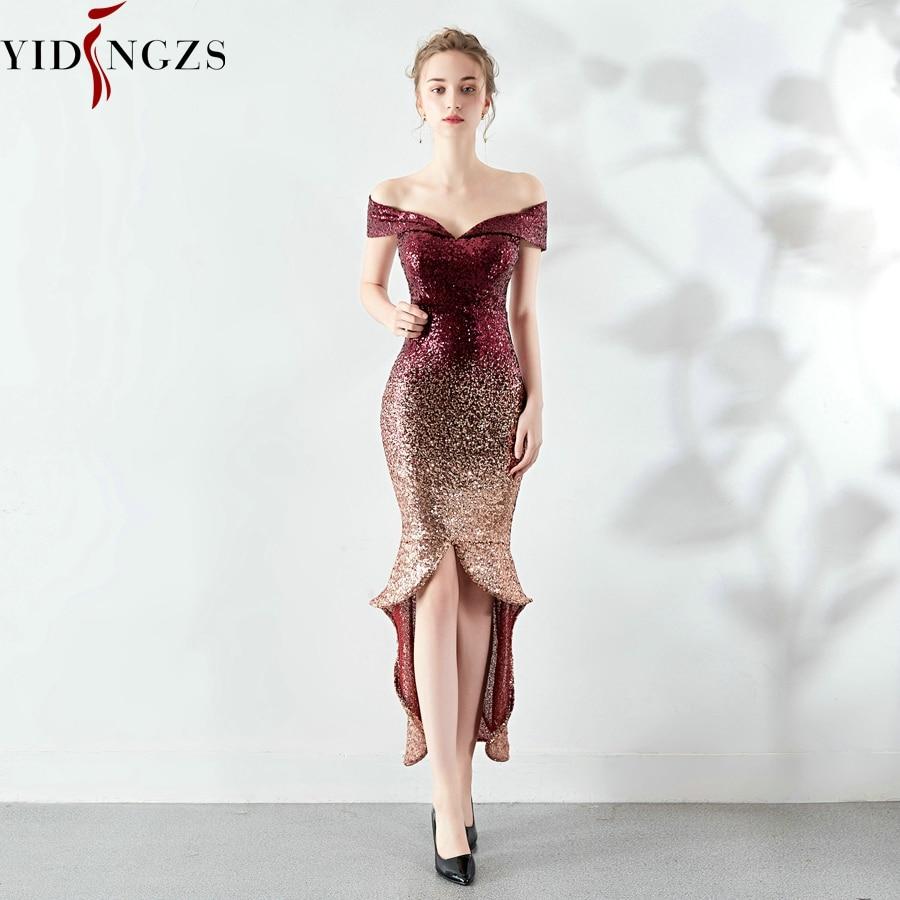 YIDINGZS Women Elegant Sequin Evening Dress Short Front Long Back Evening Party Dress