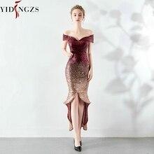 Yidingzs vestido moda noite com lantejoulas, elegante, frente curta, atrás longo, vestido de festa à noite