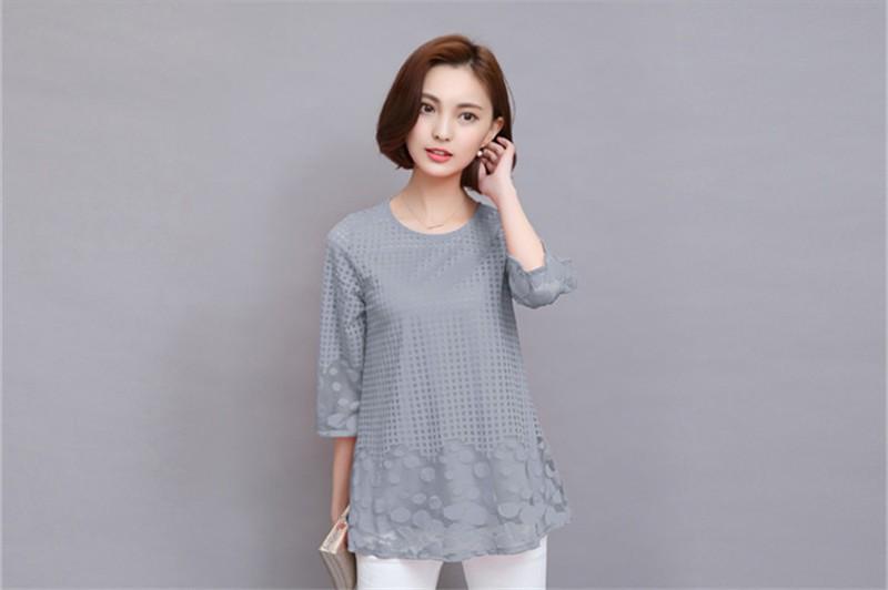 Plus Size 4XL 5XL 6XL  Luxury Lace O Neck  Women Blouse Shirt Noble Long Mesh sleeve Shirt Blouse Vintage tops Blusas Femininas (40)