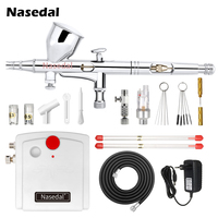 NT 18W Mini Airbrush Compressor Kit 9cc Dual Action Airbrush Spary Paint Gun for Nail Art for Cake Car Painting Makeup