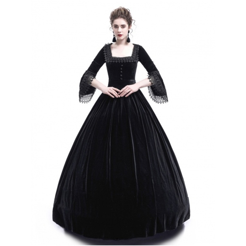 1  4 Colour Costume Medieval Dress 2018 New Flare Sleeve Palace Princess  Long Dress Autumn Lace Fancy Party Helloween Dresses-in Dresses from Women s  ... 083a49161db0