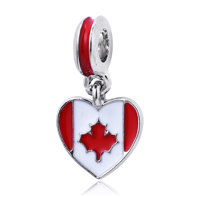 1PC New Canada Flag Heart Hanging Pendants Silver Plated Dangle Charms beads Fit Pandora Charm berloque Bracelet
