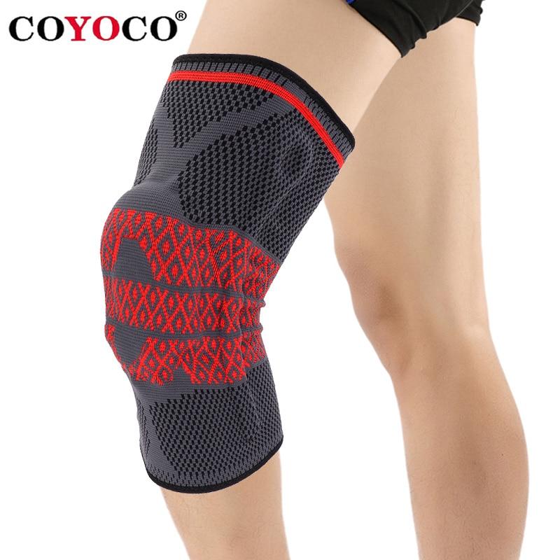COYOCO Del Silicone Primavera Supporto Knee Pad Brace 1 pz Gamba Artrite Lesioni Al Ginocchio Pad Caldo Manica Nero Rosso Modello Menisco ginocchiera