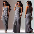 Mulheres Verão Sexy Casual Boho Longa Maxi Evening Beach Party Vestido de Colete Vestido de Verão