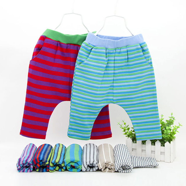 Korean Style Striped Cotton Baby Cropped Trousers Baby Pants YL132