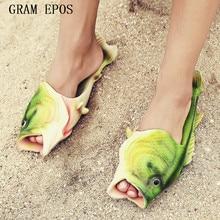 2017 ручной росписью Шлёпанцы для женщин, рыбы тапочки человек личность рыбы сандалии женские bling шлепанцы слайды рыбы Пляжные Тапочки