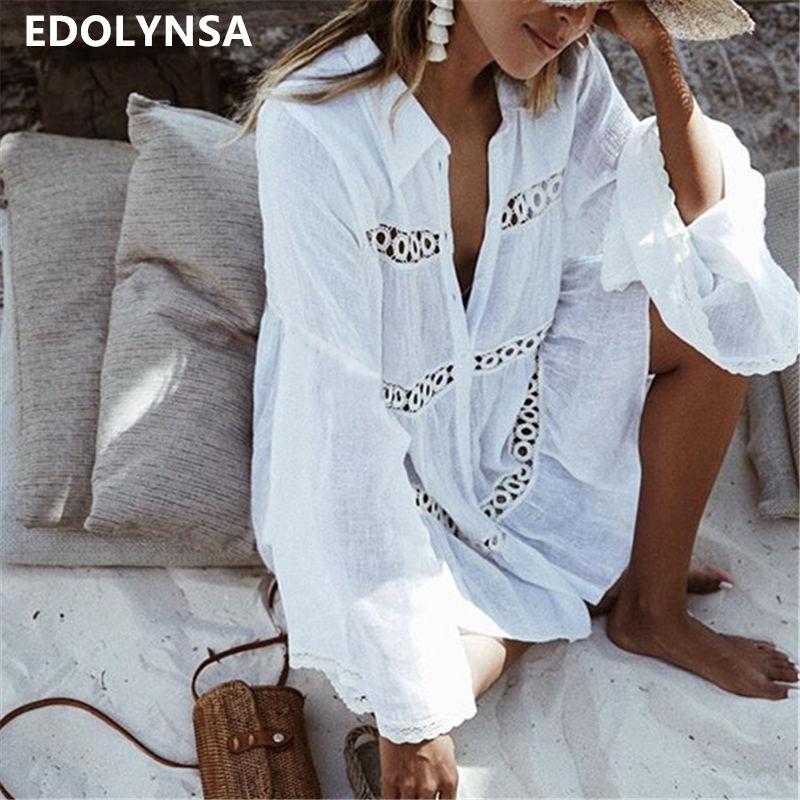 Coton Tunique Plage Robe 2018 Blanc Mini Robe Plus La Taille Bohème Style Robes Sexy Femmes Robes D'été Robes # N429