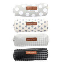 Creative Zipper Round Dot Checked Pen Bag Cloth Pencil Case With Geometrical Figure Students School Stationary