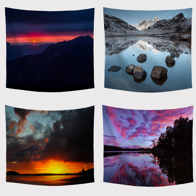 Aliexpress Com Buy 5 Panels Dusk Sunset Boat Printed: Aliexpress.com : Buy The Nordic Style Tapestry Boat Night