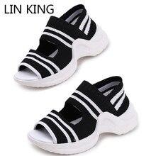 цены LIN KING Rome Knit Thick Sole Women Sandals Comfortable Outside Summer Wedges Platform Shoes Open Toe Girls Sandalias Femeninas