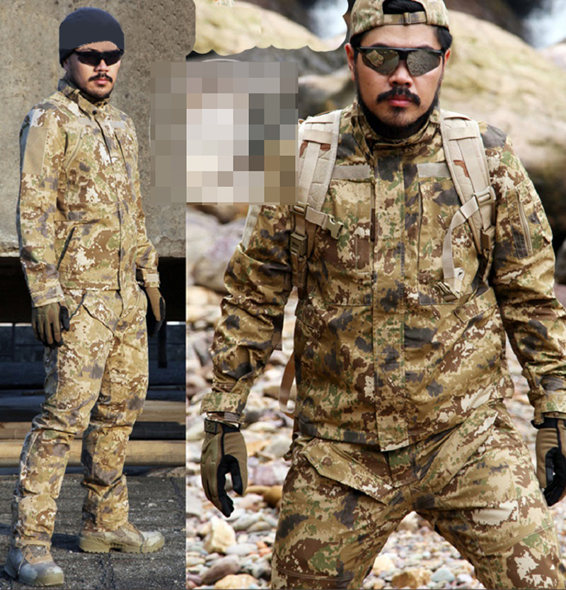 цена на Men Hunting Airsoft Ghillie Suit Combat Long Sleeve Field Jackets Coat Cargo Pant Military BDU Tactical Uniform Clothes Set