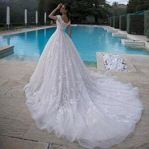 Image 2 - Brautkleid Cổ Thuyền Chữ A Váy Áo Plus Kích Thước 2020 Tua Rua Nữ Tay Tuyệt Đẹp Suknie Slubne Phối Ren Lưng Áo Dây De Mariage
