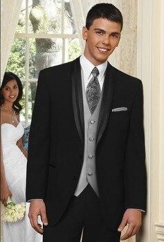 Custom Made Groom Tuxedo Black Groomsmen Shawl Satin Lapel Wedding/Dinner Suits Best Man Bridegroom (Jacket+Pants+Tie+Vest) B275