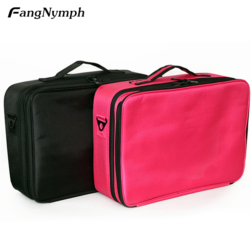 FangNymph Professional Makeup Bag Large Capacity Oxford Fabric Cosmetic Bag Functional Travel Makeup Luggage Box Pouch functional capacity of mango leave extracts
