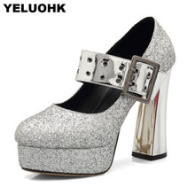 Large Size Glitter Shoes Women High Hees Buckle Platform Pumps Mary Janes Shoes  Woman Fashion Wedding 2e820920f0c3