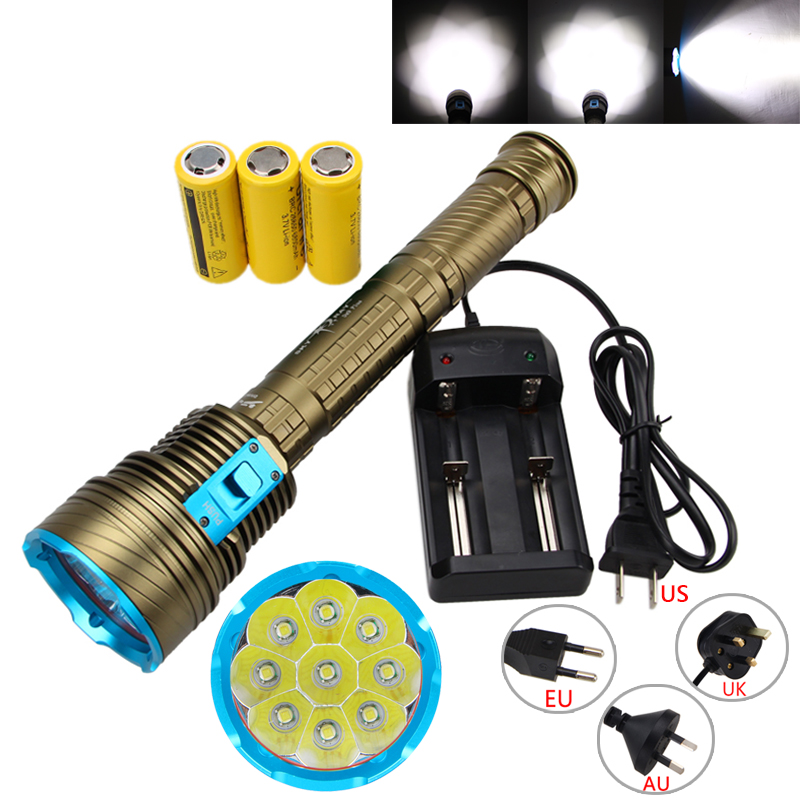 Waterproof 100m 20000LM 9XT6 LED 3-mode Diving Flashlight Torch Dive Light +26650 Battery +Charger