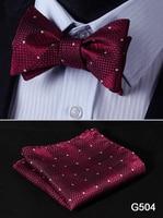 Check Polka Dot Silk Jacquard Woven Men Butterfly Self Bow Tie BowTie Pocket Square Handkerchief Hanky Suit Set G5 4
