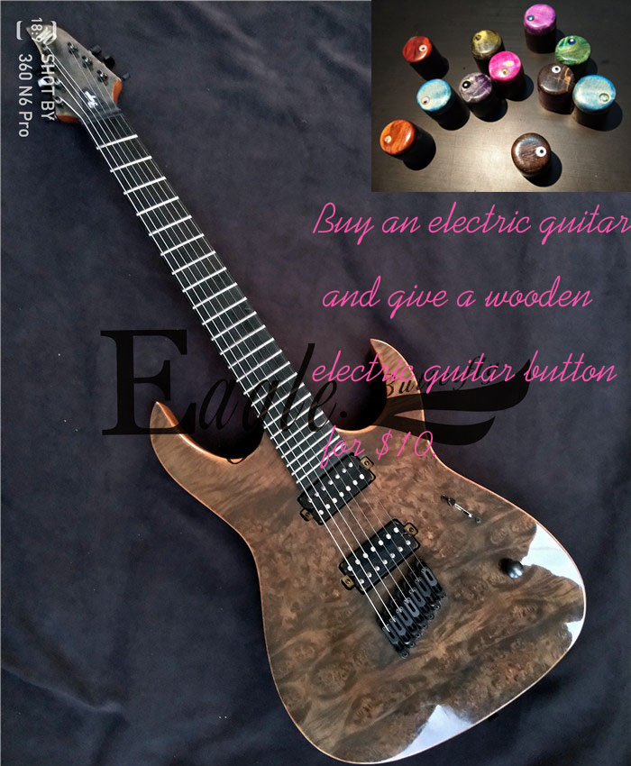 Aigle. Papillon, guitare basse boutique personnalisée, sept cordes 24 en forme d'éventail touche tumeur placage guitare électrique personnalisé