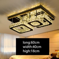 IWHD LED ceiling Light Plafonnier K9 Crystal Ceiling Lamps Rectangle Tricolor dimming Luminarias Home Lighting Fixtures L