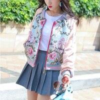 2018 New Fashion Women Jackets Autumn Luxury Floral Embroidery Jacquard Slim Full Sleeve Zipper Jacket