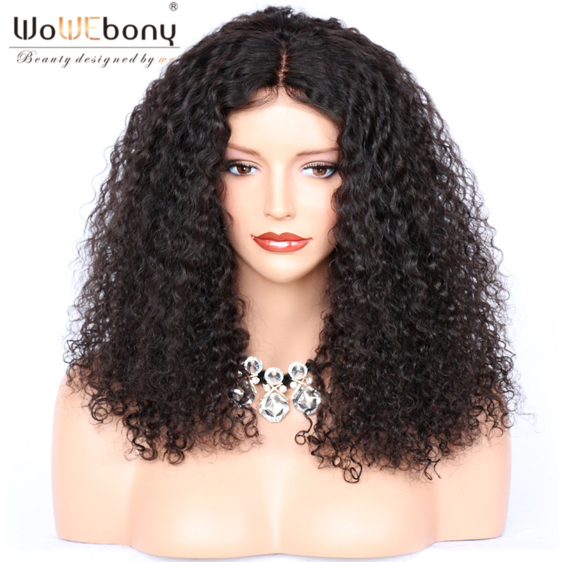 WoWEbony 250% High Density Afro Kinky Curly Human Hair Lace Frontal Wigs For Black Women Pre-plucked Hairline