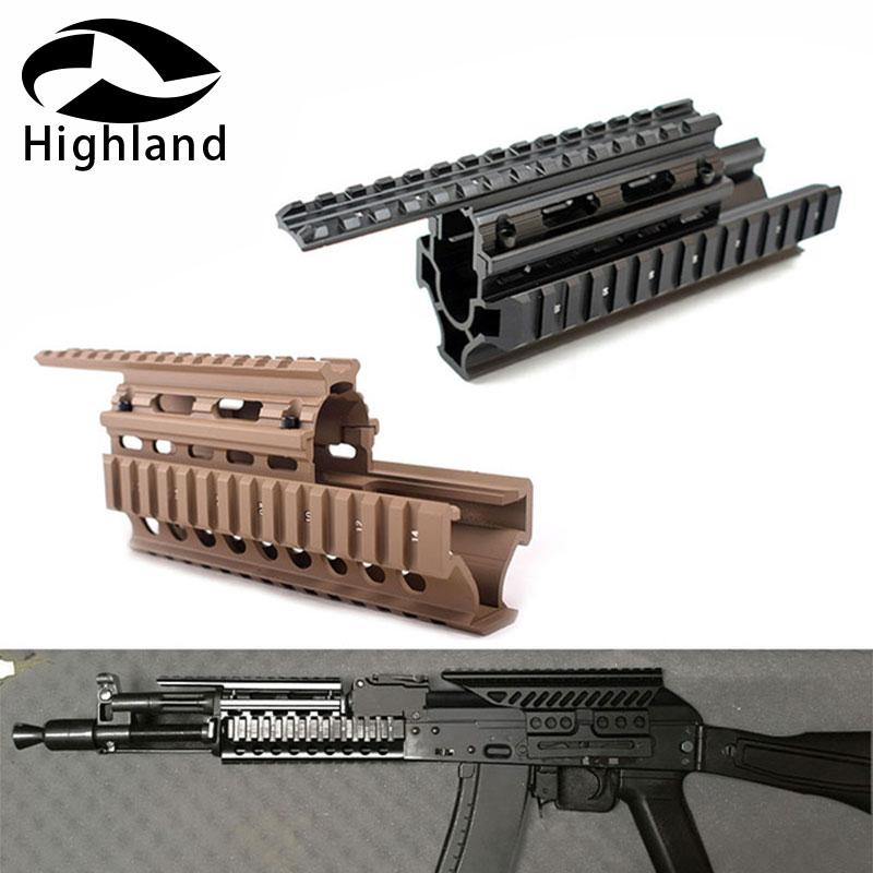 Tactical AK 47 AK74 AKS  Drop In Quad Rail Scope Mount RIS Quad Handguard Hunting Shooting Airsoft Rifle Accessory