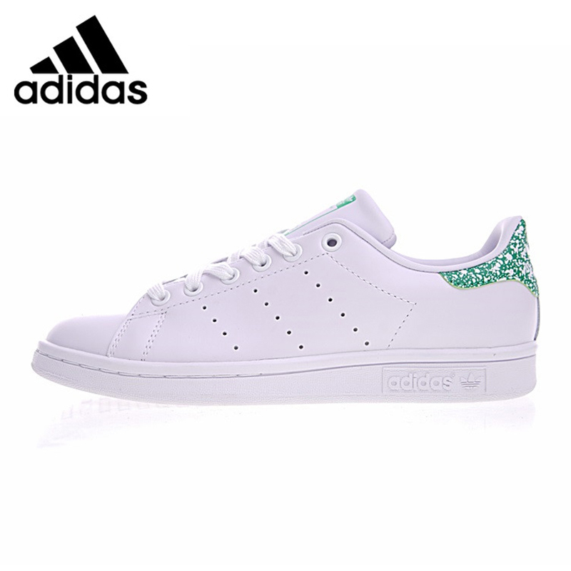Adidas Stan Smith Women's Walking Shoes White & Green Lightweight Wear-resistant Breathable Sneakers BZ0407 adidas stan smith shamrock men s and women s walking shoes pink grey balance lightweight breathable s75075 s80024